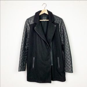 TROUVÉ Nordstrom Quilted Leather Sleeve Jacket L